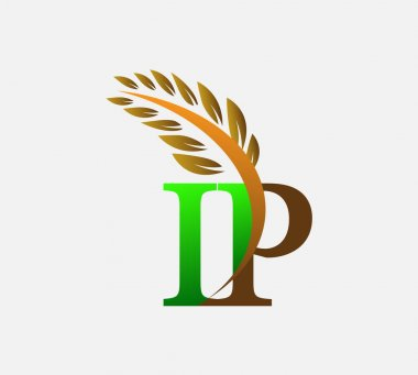 Initial letter logo IP, Agriculture wheat Logo Template vector icon design colored green and brown. icon