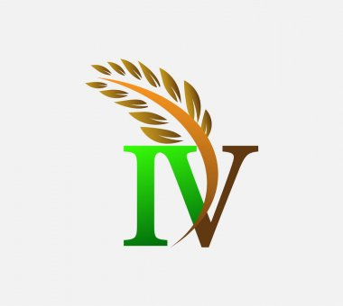 Initial letter logo IV, Agriculture wheat Logo Template vector icon design colored green and brown. icon