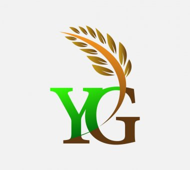 Initial letter logo YG, Agriculture wheat Logo Template vector icon design colored green and brown. icon