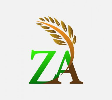 Initial letter logo ZA, Agriculture wheat Logo Template vector icon design colored green and brown. icon