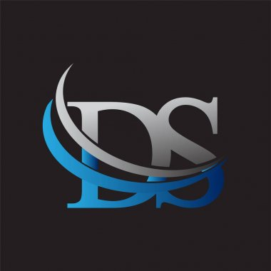 Initial letter DS logotype company name colored blue and grey swoosh design. vector logo for business and company identity. icon