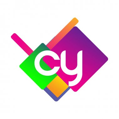 Letter CY logo with colorful geometric shape, letter combination logo design for creative industry, web, business and company. icon