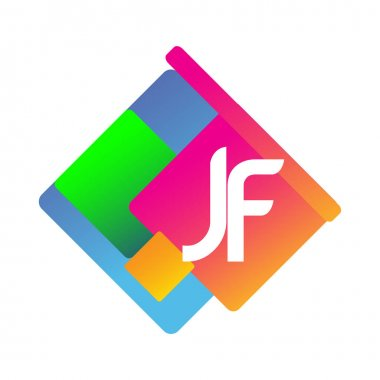 Letter JF logo with colorful geometric shape, letter combination logo design for creative industry, web, business and company. icon