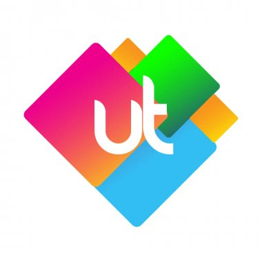 Letter UT logo with colorful geometric shape, letter combination logo design for creative industry, web, business and company. icon
