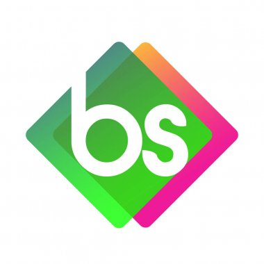 Letter BS logo with colorful geometric shape, letter combination logo design for creative industry, web, business and company. icon