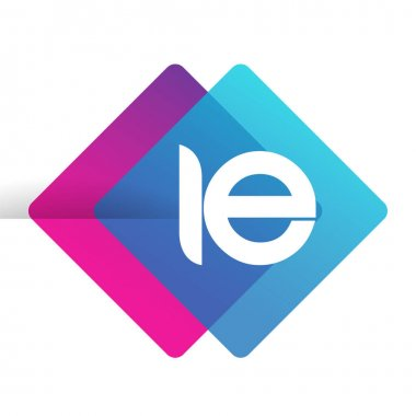 Letter IE logo with colorful geometric shape, letter combination logo design for creative industry, web, business and company. icon