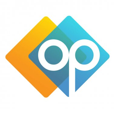 Letter OP logo with colorful geometric shape, letter combination logo design for creative industry, web, business and company. icon