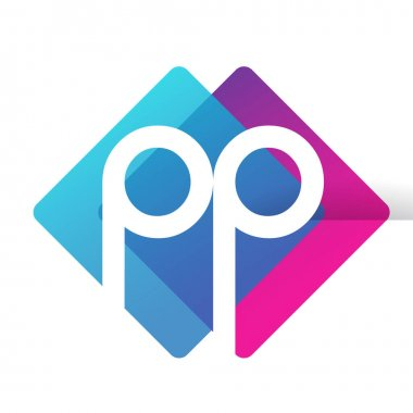 Letter PP logo with colorful geometric shape, letter combination logo design for creative industry, web, business and company. icon