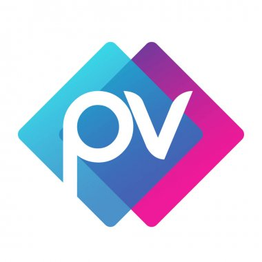 Letter PV logo with colorful geometric shape, letter combination logo design for creative industry, web, business and company. icon