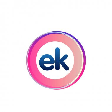 Letter EK logo with colorful circle, letter combination logo design with ring, circle object for creative industry, web, business and company. icon