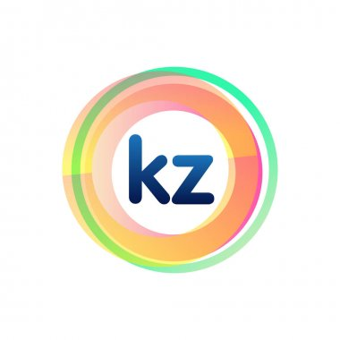 Letter KZ logo with colorful circle, letter combination logo design with ring, circle object for creative industry, web, business and company. icon