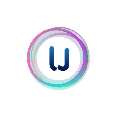 Letter LJ logo with colorful circle, letter combination logo design with ring, circle object for creative industry, web, business and company. icon