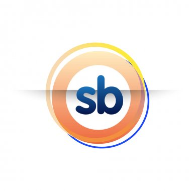Letter SB logo with colorful circle, letter combination logo design with ring, circle object for creative industry, web, business and company. icon