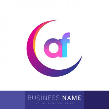 Initial letter AF logotype company name, colorful and swoosh design. vector logo for business and company identity. icon