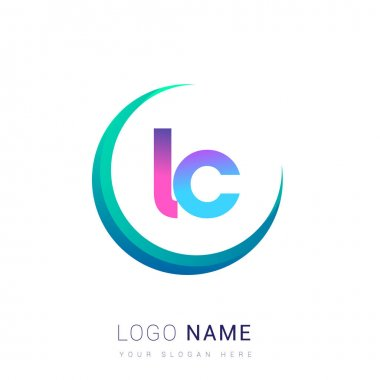 Initial letter LC logotype company name, colorful and swoosh design. vector logo for business and company identity. icon
