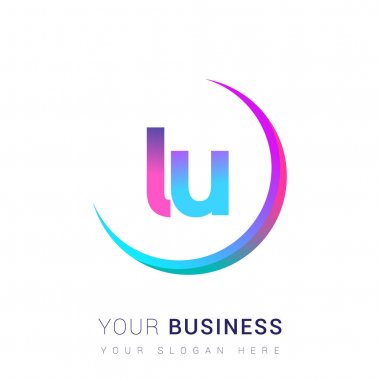 Initial letter LU logotype company name, colorful and swoosh design. vector logo for business and company identity. icon