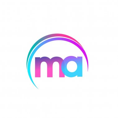 Initial letter MA logotype company name, colorful and swoosh design. vector logo for business and company identity. icon