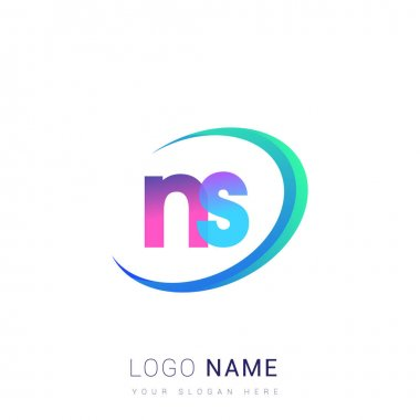 Initial letter NS logotype company name, colorful and swoosh design. vector logo for business and company identity. icon