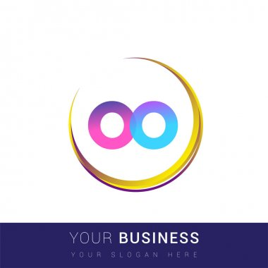Initial letter OO logotype company name, colorful and swoosh design. vector logo for business and company identity. icon