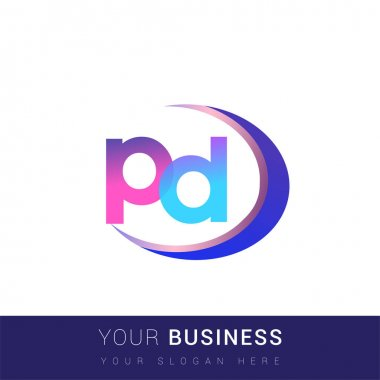 Initial letter PD logotype company name, colorful and swoosh design. vector logo for business and company identity. icon