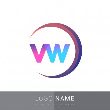 Initial letter VW logotype company name, colorful and swoosh design. vector logo for business and company identity. icon