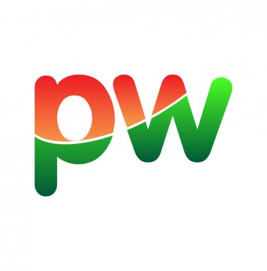 Initial Letter PW Logo Lowercase, colorful logotype Modern and Simple Logo Design. icon