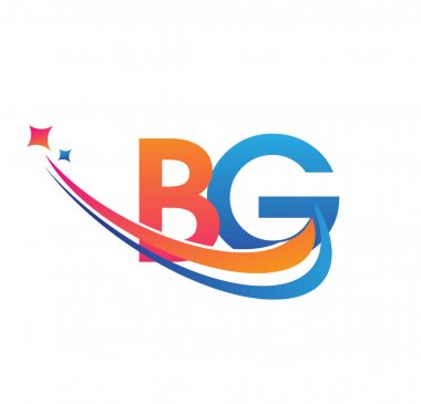 Initial letter BG logotype company name colored orange, red and blue swoosh star design. vector logo for business and company identity. icon