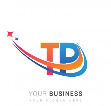 Initial letter TP logotype company name colored orange, red and blue swoosh star design. vector logo for business and company identity. icon