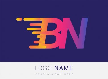 Initial Letter BN speed Logo Design template, logotype company name colored yellow, magenta and blue.for business and company identity. icon