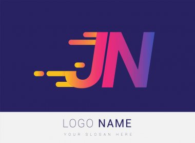 Initial Letter JN speed Logo Design template, logotype company name colored yellow, magenta and blue.for business and company identity. icon
