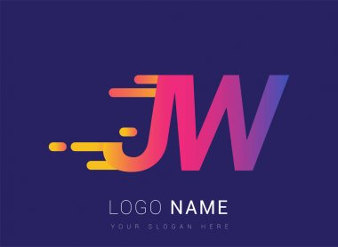 Initial Letter JW speed Logo Design template, logotype company name colored yellow, magenta and blue.for business and company identity. icon