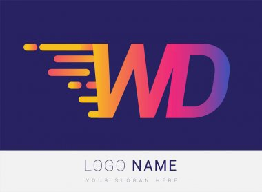 Initial Letter WD speed Logo Design template, logotype company name colored yellow, magenta and blue.for business and company identity. icon
