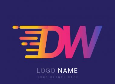 Initial Letter DW speed Logo Design template, logotype company name colored yellow, magenta and blue.for business and company identity. icon