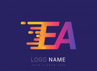 Initial Letter EA speed Logo Design template, logotype company name colored yellow, magenta and blue.for business and company identity. icon