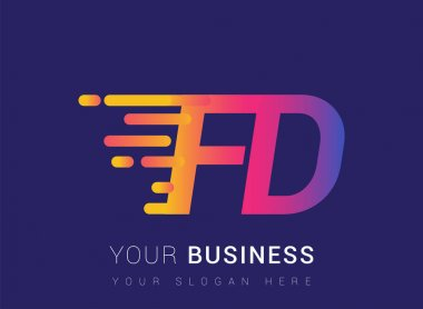 Initial Letter FD speed Logo Design template, logotype company name colored yellow, magenta and blue.for business and company identity. icon