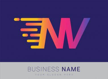 Initial Letter NV speed Logo Design template, logotype company name colored yellow, magenta and blue.for business and company identity. icon