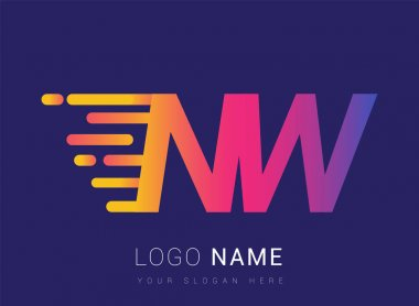 Initial Letter NW speed Logo Design template, logotype company name colored yellow, magenta and blue.for business and company identity. icon