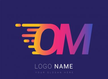 Initial Letter OM speed Logo Design template, logotype company name colored yellow, magenta and blue.for business and company identity. icon