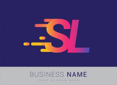 Initial Letter SL speed Logo Design template, logotype company name colored yellow, magenta and blue.for business and company identity. icon