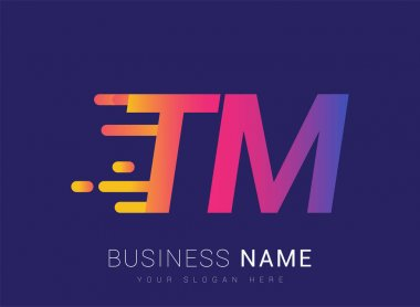 Initial Letter TM speed Logo Design template, logotype company name colored yellow, magenta and blue.for business and company identity. icon