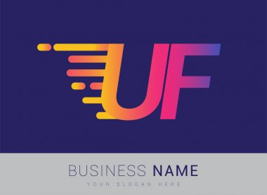 Initial Letter UF speed Logo Design template, logotype company name colored yellow, magenta and blue.for business and company identity. icon