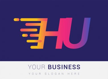 Initial Letter HU speed Logo Design template, logotype company name colored yellow, magenta and blue.for business and company identity. icon