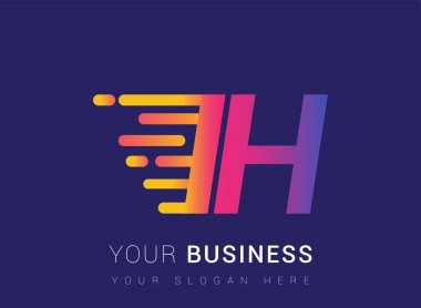 Initial Letter IH speed Logo Design template, logotype company name colored yellow, magenta and blue.for business and company identity. icon