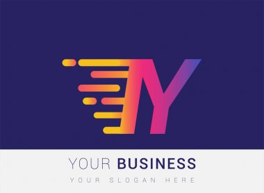 Initial Letter IY speed Logo Design template, logotype company name colored yellow, magenta and blue.for business and company identity. icon