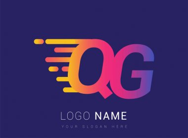 Initial Letter QG speed Logo Design template, logotype company name colored yellow, magenta and blue.for business and company identity. icon