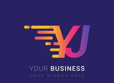 Initial Letter YJ speed Logo Design template, logotype company name colored yellow, magenta and blue.for business and company identity. icon