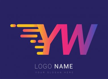 Initial Letter YW speed Logo Design template, logotype company name colored yellow, magenta and blue.for business and company identity. icon