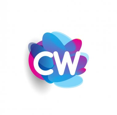 Letter CW logo with colorful splash background, letter combination logo design for creative industry, web, business and company.