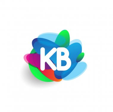 Letter KB logo with colorful splash background, letter combination logo design for creative industry, web, business and company. icon
