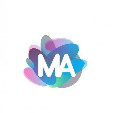 Letter MA logo with colorful splash background, letter combination logo design for creative industry, web, business and company. icon